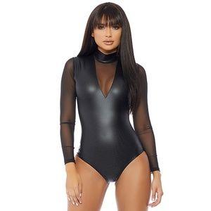 Long Sleeve Bodysuit Mock Neck Sheer Mesh Wet Look